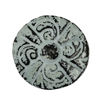 Flat Circular Cabinet Knob in Distressed Green