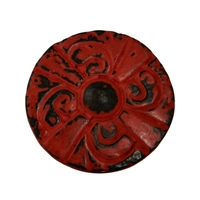 Flat Circular Cabinet Knob in Distressed Red