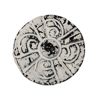 Flat Circular Cabinet Knob in Distressed White