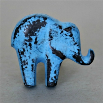 Baby Elephant Cabinet Knob in Blue Distressed Finish