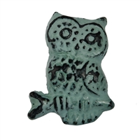 Owl Cabinet Knob in a Green Distressed Finish