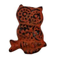 Metal Owl Cabinet Knob with Orange Distressed Finish
