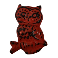 Metal Owl Cabinet Knob with Red Distressed Finish