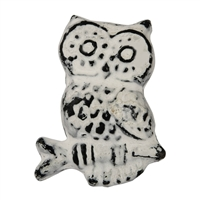 Metal Owl Cabinet Knob with White Distressed Finish
