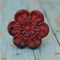 Metal Flower Cabinet Knob in a Red Distressed Finish