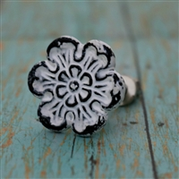 Metal Flower Cabinet Knob in White Distressed Finish