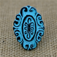 Metal Oval Flower Cabinet Knob in a Distressed Blue Finish