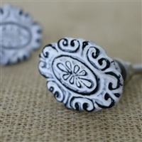 Metal Oval Flower Cabinet Knob in a Distressed White Finish