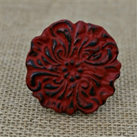 Metal Floral Knob in a Distressed Red Finish