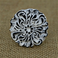 Metal Floral Knob in a Distressed White Finish