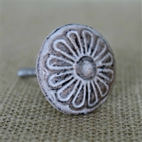 Round Floral Iron Cabinet Knob in Distressed Beige Finish
