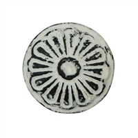 Round Floral Iron Cabinet Knob in Distressed White Finish