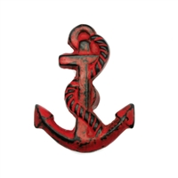 Cast Iron Anchor Cabinet Knob in Distressed Red Finish