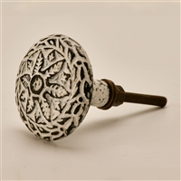 Round Cast Iron Cabinet Knob in Distressed White