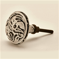 Round Cast Iron Cabinet Knob in Distressed White Finish