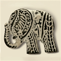 Elephant Metal Cabinet Knob in Distressed White Finish