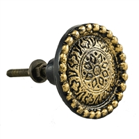 Round Cast Iron Cabinet Knob in Gold Black Finish