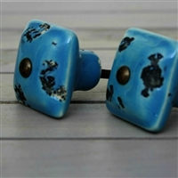 Blue Square Ceramic Knob