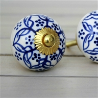 Ceramic Cabinet Knob with a Blue Pattern