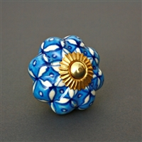 Blue and White Floral Ceramic Cabinet Knob