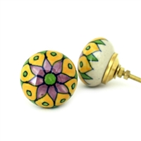 Round Multicolored Ceramic Cabinet Knob