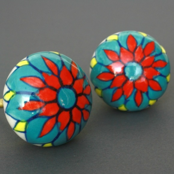 ceramic cabinet knobs flowers ebay round multicolored knob kitchen uk