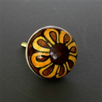 Round Ceramic Cabinet Knob with Yellow and Brown Flower
