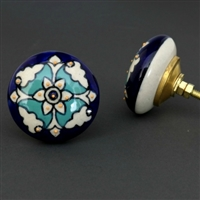Flat Ceramic Cabinet Knob with a Teal and White Floral Pattern