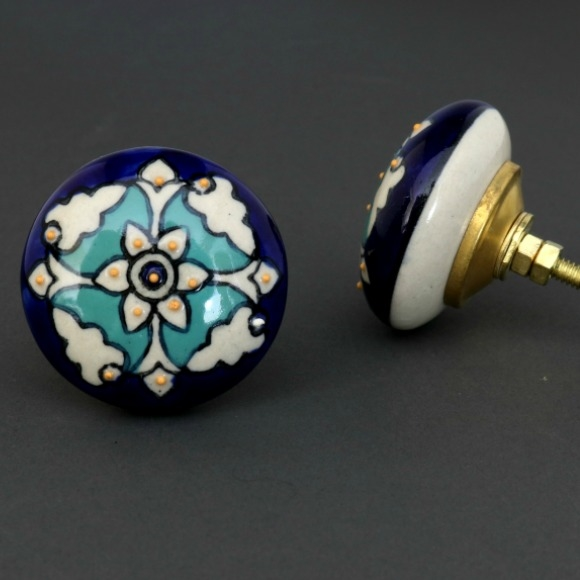 ceramic cabinet knobs flowers ebay cheap flat knob teal white floral pattern