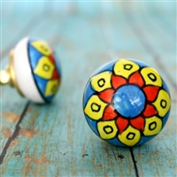 Round Ceramic Cabinet Knob with Yellow and Blue Flower