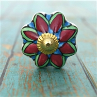 Ceramic Melon Knob with a Bright Floral Pattern