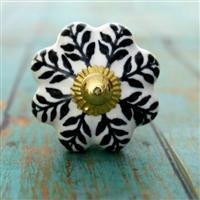 Ceramic Melon Knob in Black & White Pattern