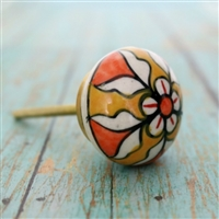 Ceramic Melon Knob with Brown & White Pattern