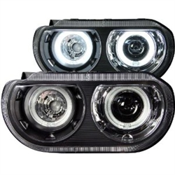 AnzoUSA Black Clear Dual Projector Halo Headlight for Dodge Challenger