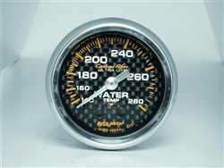 "Auto Meter Carbon Fiber Series Analog Water Temperature 2 1/16"" Gauge; 120-280 Degrees 4731"