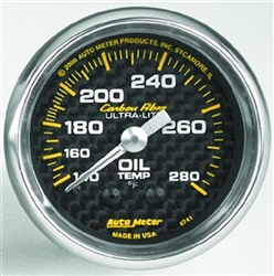 "Auto Meter Carbon Fiber Series Analog Oil Temperature 2 1/16"" Gauge; 140-280 Degrees 4741"