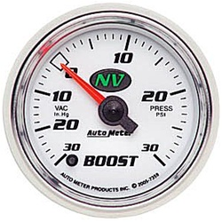 Auto Meter NV Series Boost/Vacuum, 30 in. Hg/30 psi Gauge, 0-100 psi, 2 1/16 in., Analog, Electrical, White/Luminescent Green Face 7359