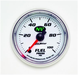Auto Meter NV Series Fuel Pressure Gauge, 0-100 psi, 2 1/16 in., Analog, Electrical, White/Luminescent Green Face 7363