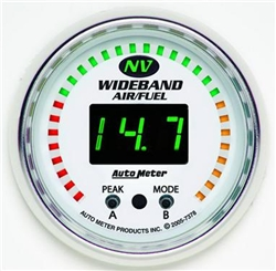Auto Meter NV Series Wideband A/F Gauge, 0-100 psi, 2 1/16 in., Digital/Electrical, White/Luminescent Green Face 7378