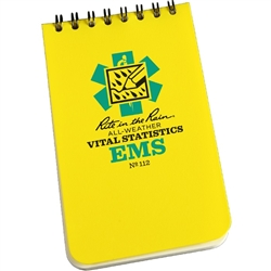 "Rite in the Rain 112 All-Weather EMS Vital Stats Notebook, Yellow, 3"" x 5"""