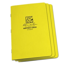 Rite in the Rain 381FX All-Weather Stapled Notebook, Metric Grid - 3 pack