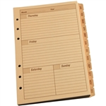 "Rite in the Rain 9260W All-Weather Weekly Tab Set, Tan, 4 5/8"" x 7"""