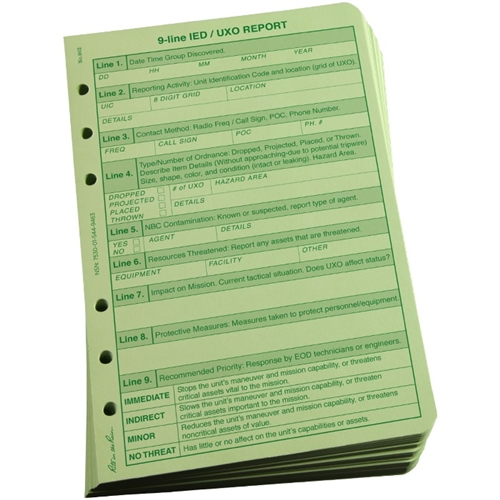 Rite In The Rain 962 All Weather 9 Line Uxoied Report Loose Leaf