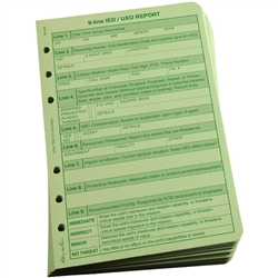 Rite in the Rain 962 All-Weather 9 Line UXO/IED Report Loose Leaf, Green