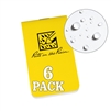 "Rite in the Rain OTG371 All-Weather On-The-Go Notebooks, Yellow, 3 3/8"" x 2"""