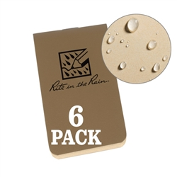 "Rite in the Rain OTG971T All-Weather On-The-Go Notebooks, Tan, 3 3/8"" x 2"""