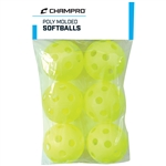 Champro 6 Pack - Yellow Poly Softball