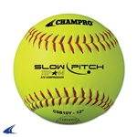 "Champro ASA 12"" Slow Pitch - Yellow Leather Cover .44 Cor"