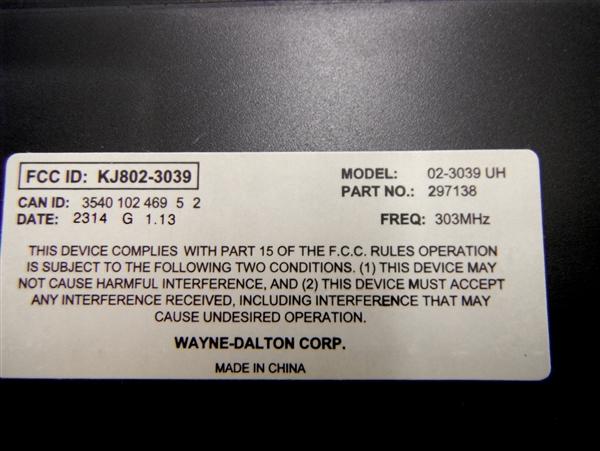 Wayne Dalton Garage Door Opener Keypad 297138