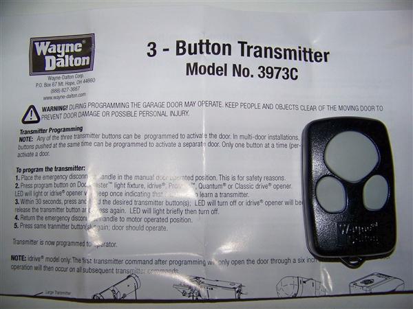 Wayne Dalton 327310 Remote For Idrive Classic And Pro 372 Mhz